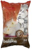 Bolsius Tealights 8 Hour Burn Time - White Tea Lights - 50 Pack