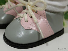 """PINK & SILVER GRAY Saddle Oxfords DOLL SHOES fits 18"""" AMERICAN GIRL Doll Clothes"""