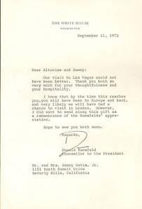 Donald Rumsfeld Signed Letter to Sammy Davis Jr PSA/DNA COA 1972 White House COS