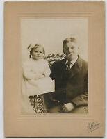 Antique Photo-Bloomington, Illinois-Man W/ Moustache & Little Girl W/Long Curls