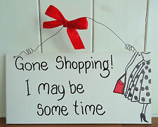 SHABBY CHIC PLAQUE GONE SHOPPING FRIENDS BIRTHDAY SISTER AUNTY CHRISTMAS GIFT