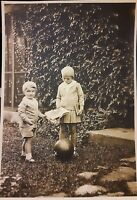 Vintage 1930s Photo of Cute Little Girl & Boy Fashion with Ball & Book Backyard