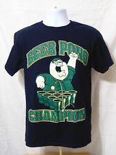 Family Guy Peter Griffin Beer Pong Champion Mens Black T-Shirt-Medium