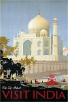 Visit India The Taj Mahal Vintage Travel Art Print Poster 24x36 inch