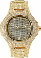 Men Fully Gold Iced Watch Bling Rapper Simulate Lab Diamond Metal Band Luxury