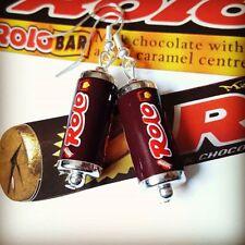Unique ROLO EARRINGS handmade CHOCOLATE retro ROLOS miniature food TUBE sweet
