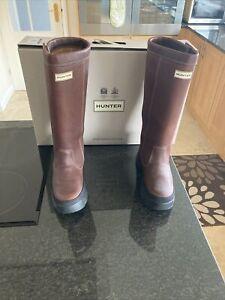 Women's HUNTER Balmoral Leather Waxed Tan Wellington Boots. UK 7. BNIB. RRP £325