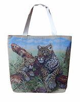 Gewebte Stoff Tasche Handtasche Leopard mit baby Leo Tiger Leoparden Look Gepard
