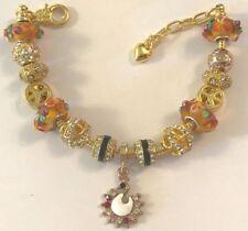 ❤️European CHARM BEADS BRACELET ~ GOLD Plated Beads & Chain ~ FANCY DESIGN ❤️
