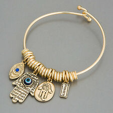 Gold Hamsa Hand Blue Eye Protect Statement Charm In Bohemian Style Bracelet