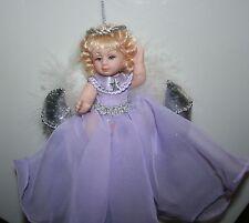 """MOON ANGEL DOLL Ornament in Lavender on Silver Moon 6"""" Bin #1"""