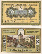 Alemania 10 Pfennig 1923 Notgeld Wurzbach UNC Billete