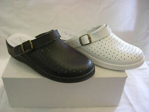 MENS NHS CHEFS  BLACK WHITE COMFORT LEATHER KITCHEN CLOGS NURSES THEATER  MULES