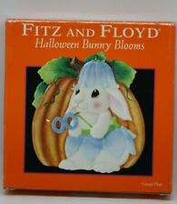 Fitz and Floyd Essentials 2004 Halloween Bunny Blooms Canape Plate Euc in a box