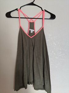 American Eagle Outfitters Soft & Sexy racerback tank top olive small Coral trim