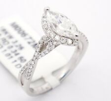 18k White Gold SI2/D 1.35CT,Marquise Diamond Accents Halo Engagement Ring 6.5
