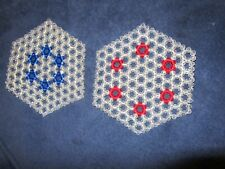 Handmade Hexagon Shaped Beaded Trivets Or Hot Pads - Lot Of 2 One W/Red 1 W/Blue