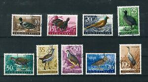 Yugoslavia 1958 Yugoslav Game Birds full set of stamps. Used. Sg 879-887.