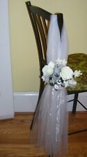 Floral Pew Bow Decoration White Tulle Wedding Shower Event Party Chair Decor