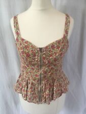 Forever 21 Size Medium Floral Zip Up Top Ruche Pleat Cream Pink Casual 10 12