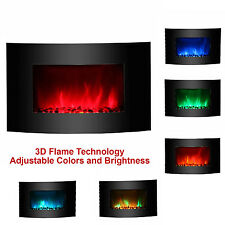 "36"" Adjustable Color 1500W Electric Wall Mount Fireplace Heater Curve Colors"