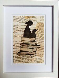Silhouette Girl reading book Print Framed