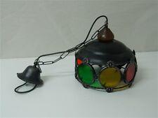 Lampadario Lanterna in ferro battuto con vetri colorati E27 OMA17