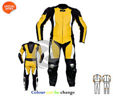 Yellow 1 piece motorbike gear can be make in 2 piece leather jacket and trouser