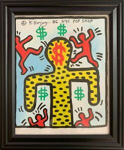 Keith Haring Drawing on Vintage Unique Paper SIGNED NYC
