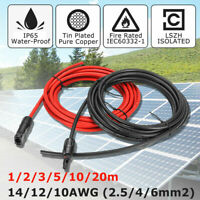 2Pcs Black+Red Solar Panel Extension Cable Wire Connector 10/12 AWG Line 20M