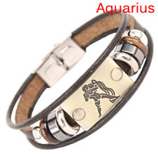 Stainless Steel Clasp Leather Bracelet 12 Zodiac Signs Bracelet Men Jewelry SRAU