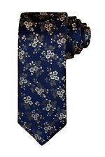 Canali Men's Blue Silver Floral Woven Silk Neck Tie