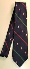 CAPE COD Neckwear Blue Christmas Santa Claus Striped Necktie Tie 56 x 3-1/4