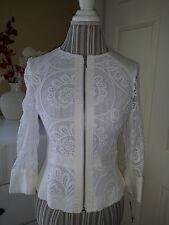 NWT INC International Concepts White Crochet Cotton Lace Full Zip Jacket Sz. P/S