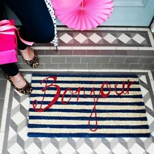 Bombay Duck Bonjour Door Mat - Navy Blue Red Stripes French Natural Coir Doormat