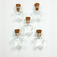 Mini Star Shape Corked Glass Bottles Vials Charm Kit Pendants 1 inch 5-Pcs
