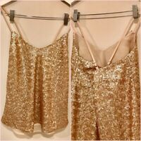 ASOS Gold Sequin Cami Strappy Cross Over Back Top Size 6 UK 2 US