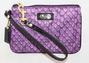 NWT COACH F50187 Taylor Snake Print Satin Wristlet Purple & Black Patent GIFT