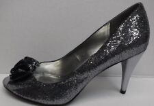 Style & Co. Size 6 Dark Silver Glitter Heels Sandals New Womens Shoes