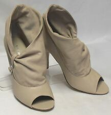 NINE WEST Marrisao Size 6.5 M Ivory Leather High-Heel PeepToe Slouch Ankle Boots