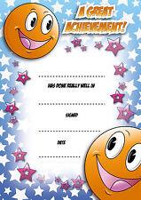 16 A6 Teachers School Nursery Reward Certificates 'Smiley' Achievement Card