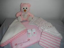 INFANT BABY GIRLS MIXED LOT BLANKETS, BOOTIES, PLUSH 10 PIECES - NICE! - VGUC!