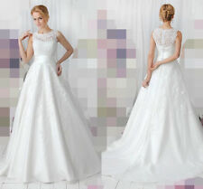New White/Ivory Lace Bridal Gown Wedding Dress Custom Size:2/4/6/8/10/12/14/16++