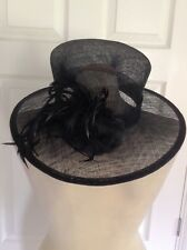 MARKS & SPENCER M&S immaculate black straw feather & corsage trimmed hat
