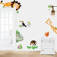 Animal Zoo Monkey Lion Wall Decals Art Removable Stickers Kids Decor DIY Mural