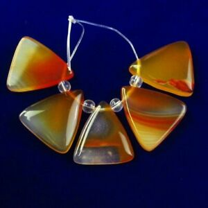 5Pcs/Set 23x20x5mm Natural Yellow Onyx Agate Triangle Pendant Bead K74295