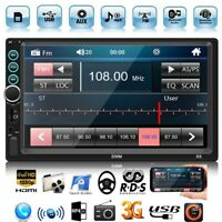 2DIN Car Stereo MP5 7in Bluetooth AUX USB FM Radio + AUX Cable + Rearview Camera