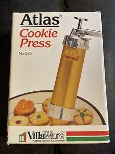 Marcato Atlas Metal Cookie Press 20 Discs + 4 Tips Italy Made Vintage Villa Ware