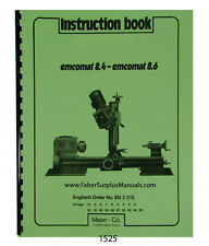 Emco Emcomat 8.4 & 8.6 Lathe Instruction Manual #1525