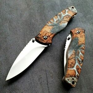 Drop Point Folding Knife Pocket Hunting Survival Tactical 3D Aluminum Handle EDC